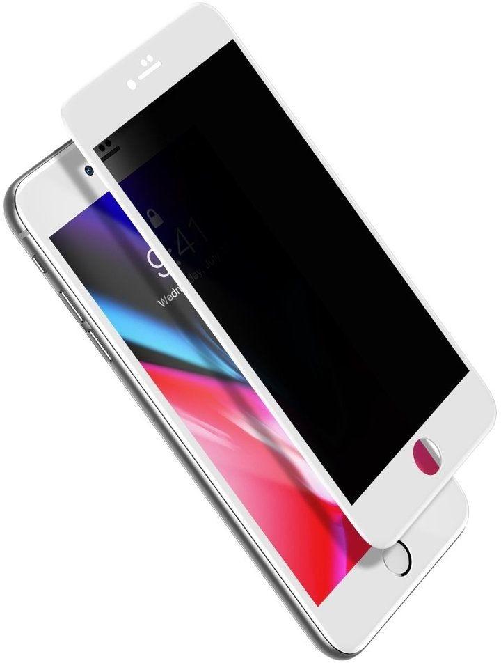 Baseus Baseus szkło na cały ekran Full Screen Privacy Anti-Spy z ramką 0.23mm 9H iPhone 8 Plus / iPhone 7 Plus biały (SGAPIPH8P-ATG02) - Biały SGAPIPH8P-ATG02