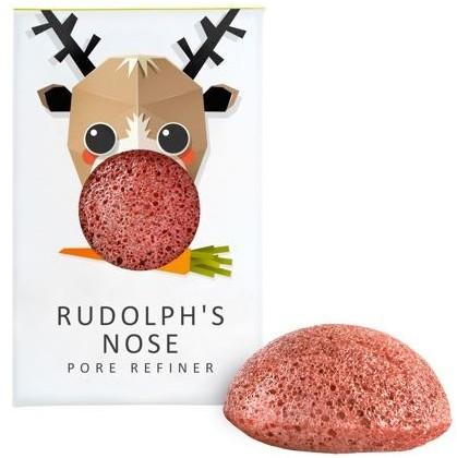 Konjac Sponge Konjac Sponge Gąbka Mini Renifer Rudolf z czerwoną glinką do cery suchej i naczynkowej