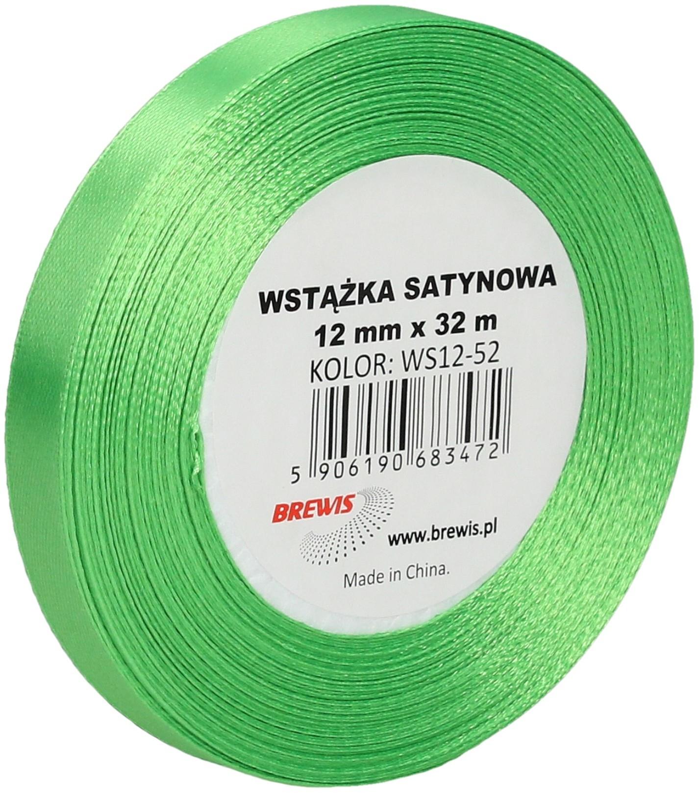 Brewis Wstążka dekoracyjna satynowa 12mm/32m zielona 52
