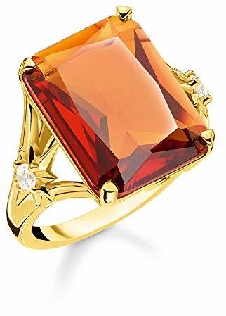 THOMAS SABO Thomas Sabo TR2261-971-8 pierścionek damski, kamień pomarańczowy, duży, z gwiazdą, srebro wysokiej próby 925, żółte złoto próby 750, złoto