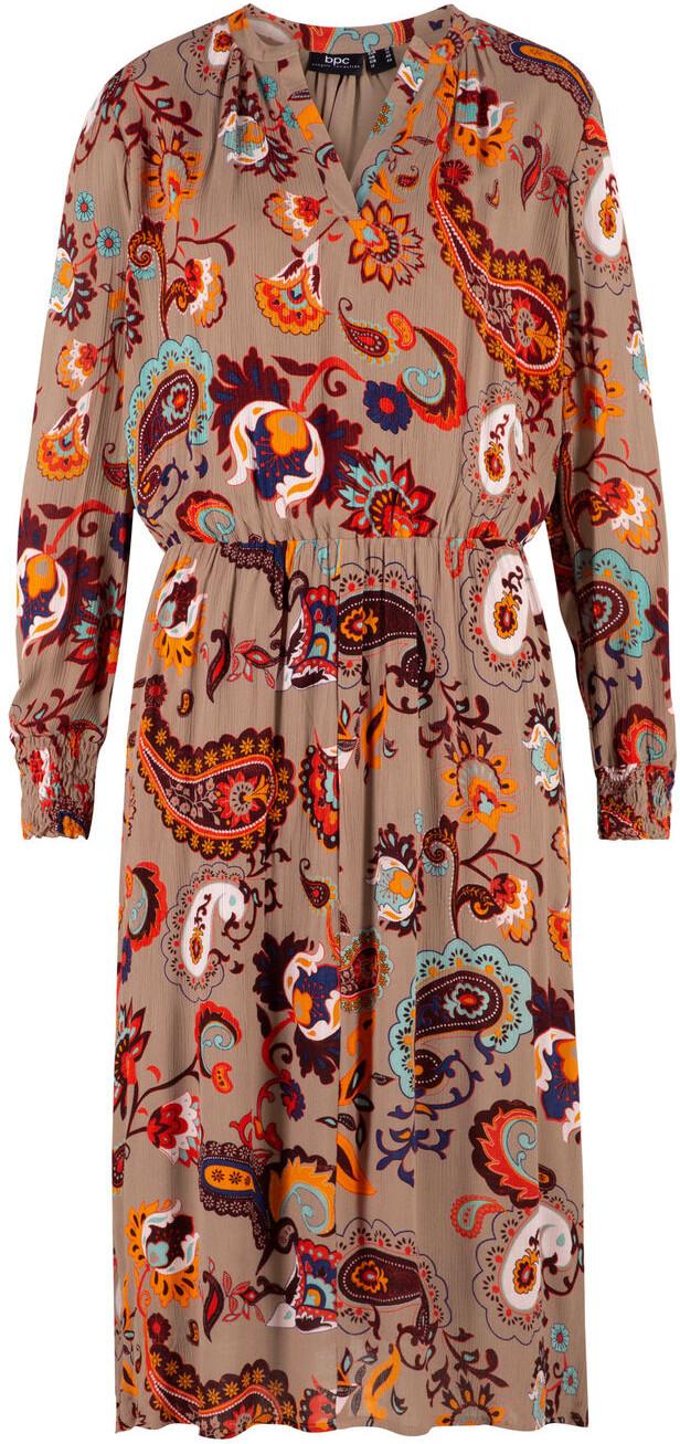Bonprix Sukienka midi z tkaniny drukowanej szarobrązowy