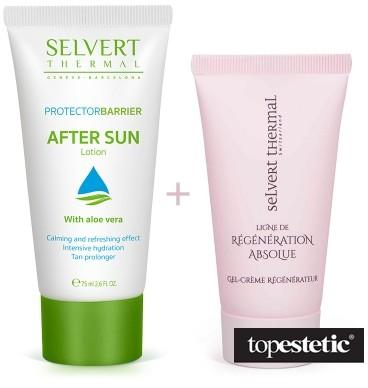 Selvert Thermal Selvert Thermal After Sun Lotion + Active Regenerator With Snail Protein Extract ZESTAW Balsam po opalaniu 75 ml + Koncentrat regenerujący z ekstraktem wydzieliny ślimaka 5 ml