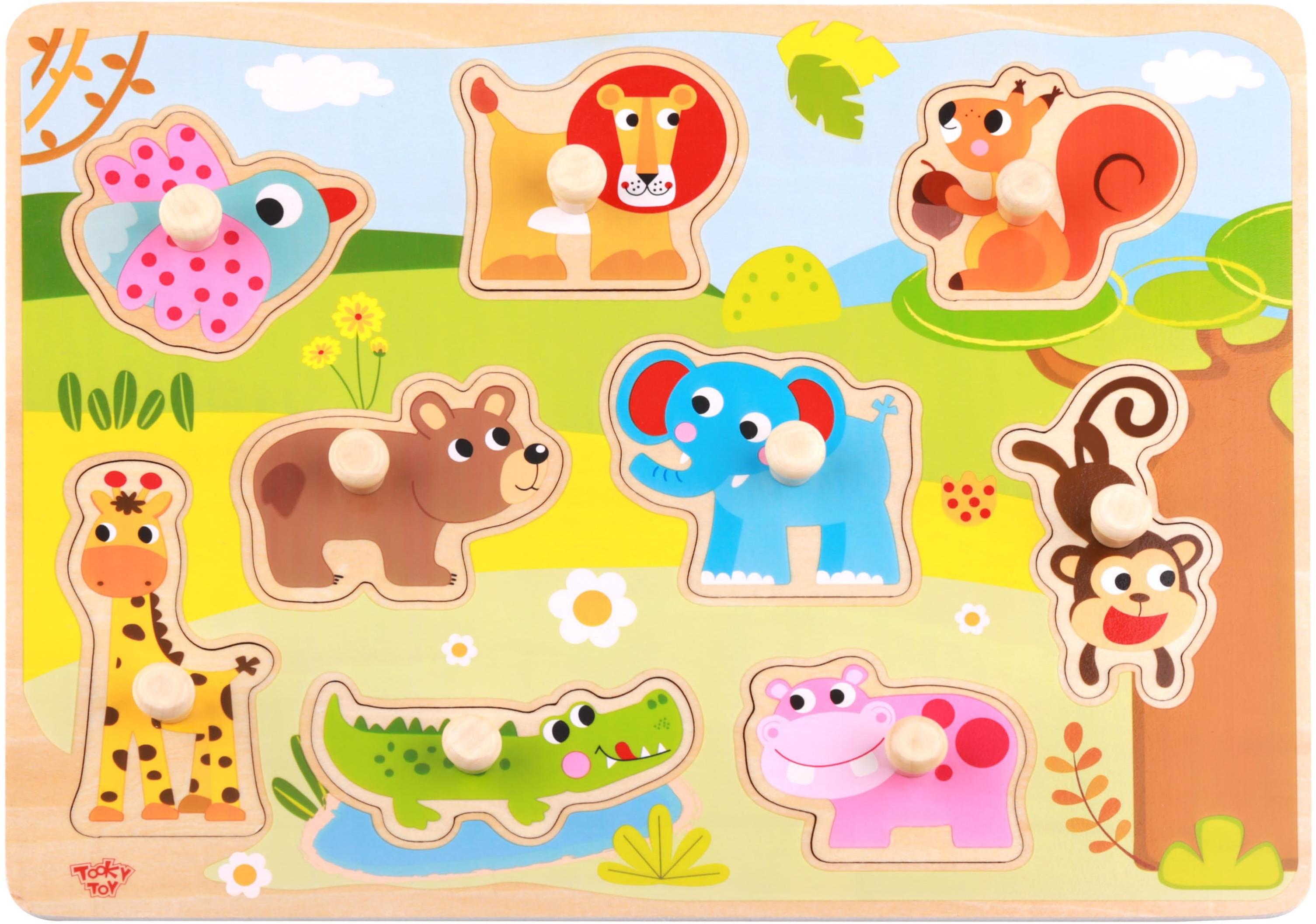 Tooky Toy TOOKY TOY Drewniane Puzzle Zwierzęta z Pinezkami Do Dopasowania TY857