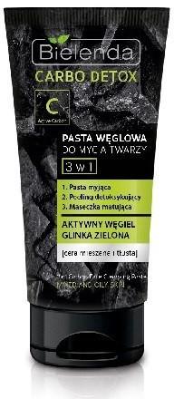 Bielenda Carbo Detox Czarny Węgiel Pasta do mycia twarzy 3w1 150g