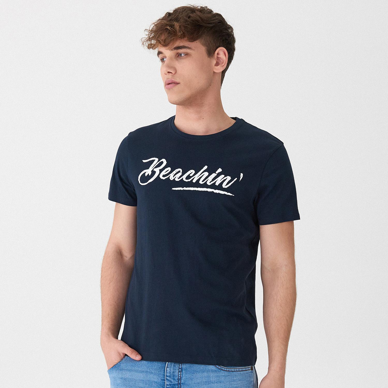 HOUSE T-shirt z napisem - Granatowy