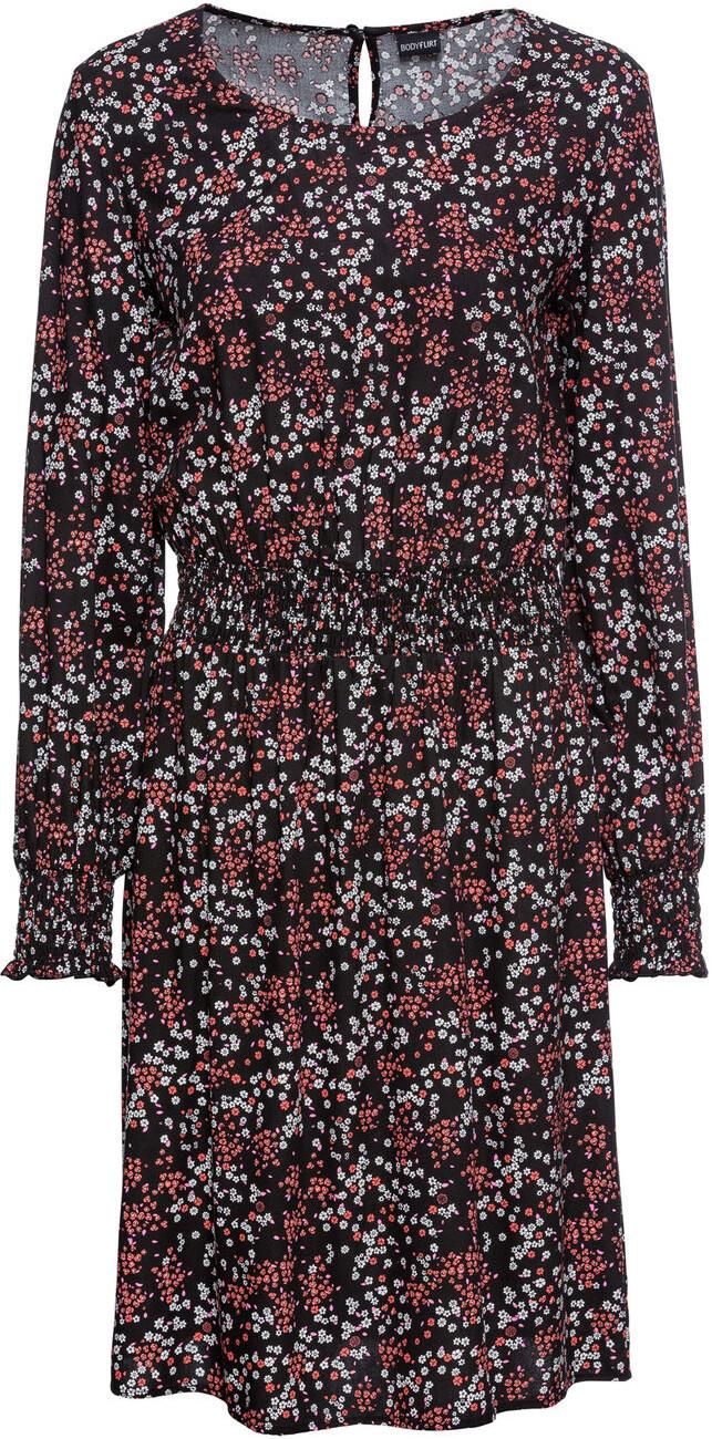 Bonprix Sukienka boho z nadrukiem czarny w kwiaty