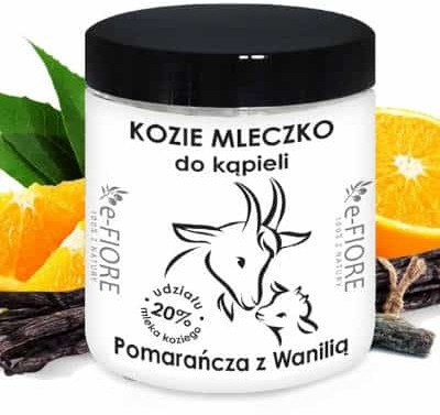 e-FIORE Kozie mleko do kąpieli z kolagenem, pantenolem, olejkiem jojoba Pomarańczą i wanilią 400g