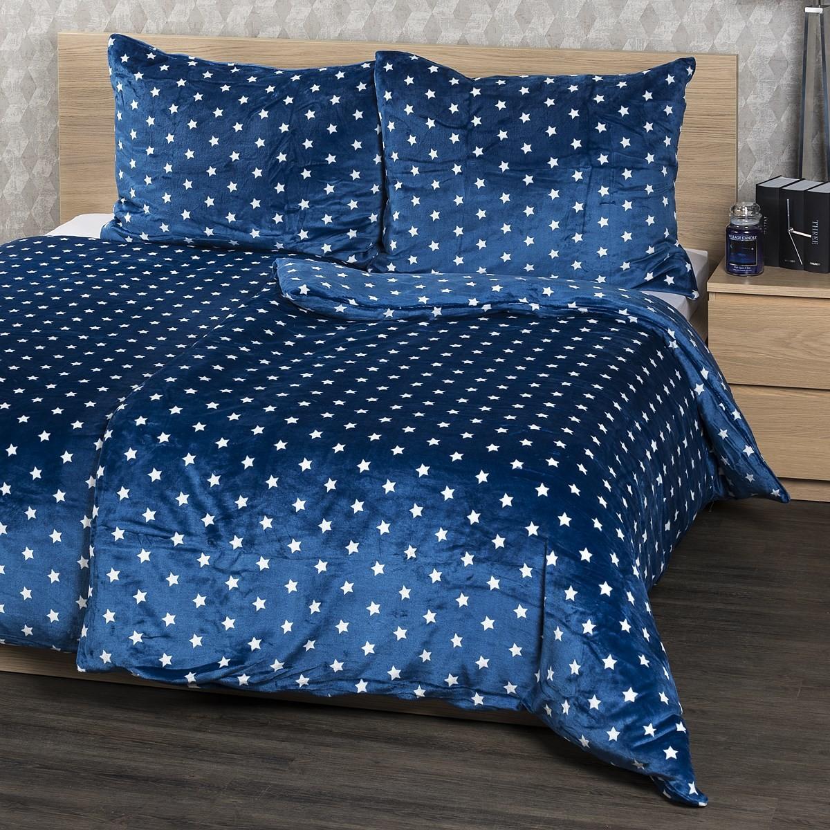 4Home pościel mikroflanela Stars niebieski, 140x200 cm, 70 x 90 cm, 140 x 200 cm, 70 x 90 cm