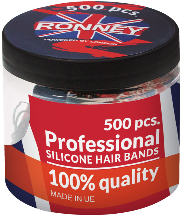 ronney RONNEY Profesjonalne silikonowe gumki do włosów KOLOROWE 500 szt (R5/M/500)