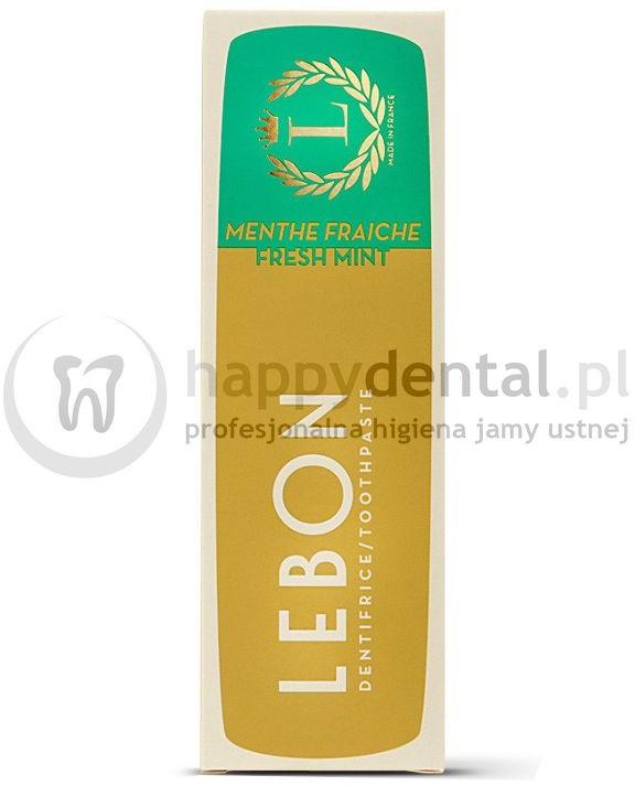 Lebon LEBON FRESH MINT Toothpaste 75ml (zielona) - pasta do zębów z naturalnych składników o smaku subtelnej mięty, zapewniająca niesamowite odświeżenie