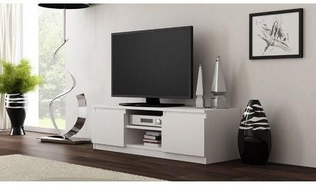 Topeshop Szafka stolik RTV, biały, 120x40x36 cm