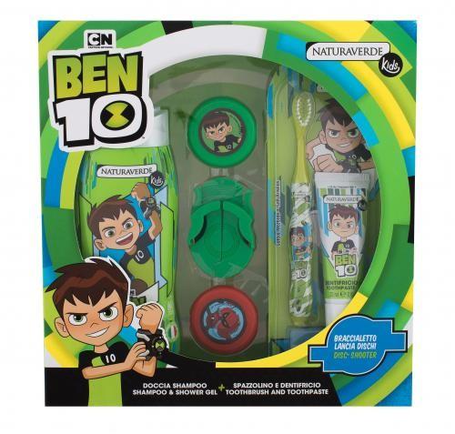 Kids Naturaverde Naturaverde Ben 10 zestaw Żel pod prysznic Ben 10 250 ml + Pasta do zębów Ben 10 10 ml + Szczoteczka do zębów Ben 10 1 szt + disc-shooter Ben 10