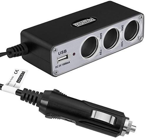 mumbi wielofunkcyjne gniazdo wtykowe do ładowarki samochodowej (potrójna puszka rozdzielcza do samochodu + gniazdo USB do podłączenia do zapalniczki samochodowej), 12 V / 24 V 23193-KFZ Verteiler USB Anschluss