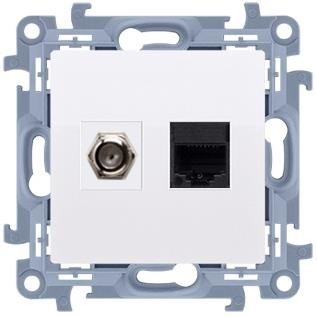 Kontakt-Simon Kontakt Simon Simon 10 Gniazdo antenowe typu F + komputerowe RJ45 kat.5e biały CASFRJ455.01/11 CASFRJ455.01/11