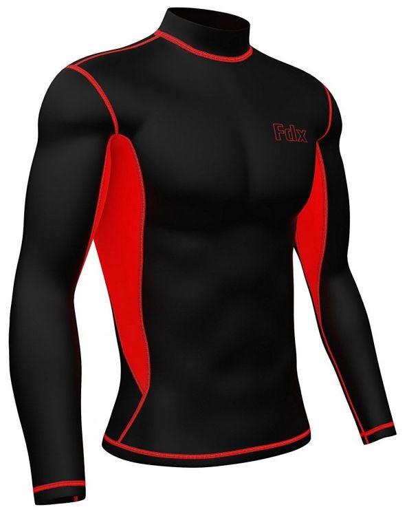 FDX FDX 870 męska bielizna termoaktywna koszulka długi rękaw czarno czerwona