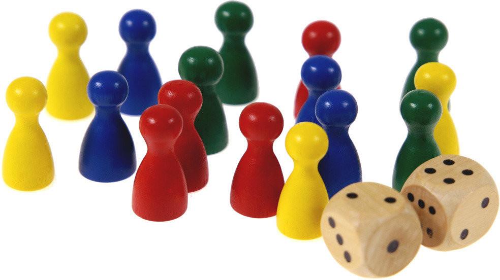 Hot Games zestaw drewnianych pionków i kostek do gier planszowych