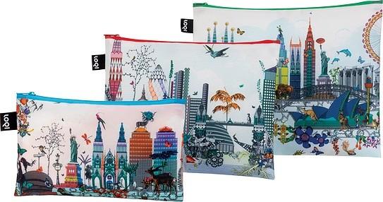 Loqi Saszetki Zip Pockets Kristjana S Williams Interiors 3 szt. World Skyline ZP.KW.WS
