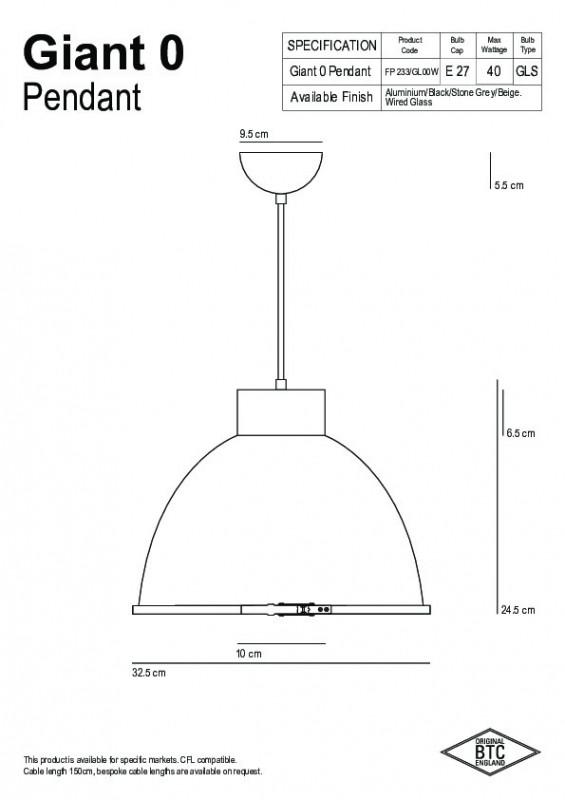Original BTC Original BTC Giant 0 Lampa wisząca 24,5x32 cm IP20 E27 GLS beżowa FP233BE