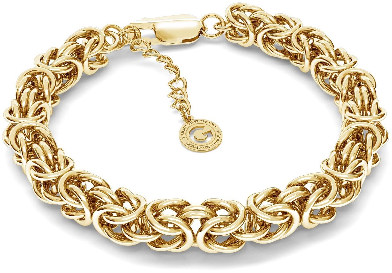 GIORRE Ręcznie składana gruba bransoletka splot królewski, bizantyna srebro 925 : Długość (cm) - 18 + 3, Kolor pokrycia srebra - Pokrycie Żółtym 18K Złotem