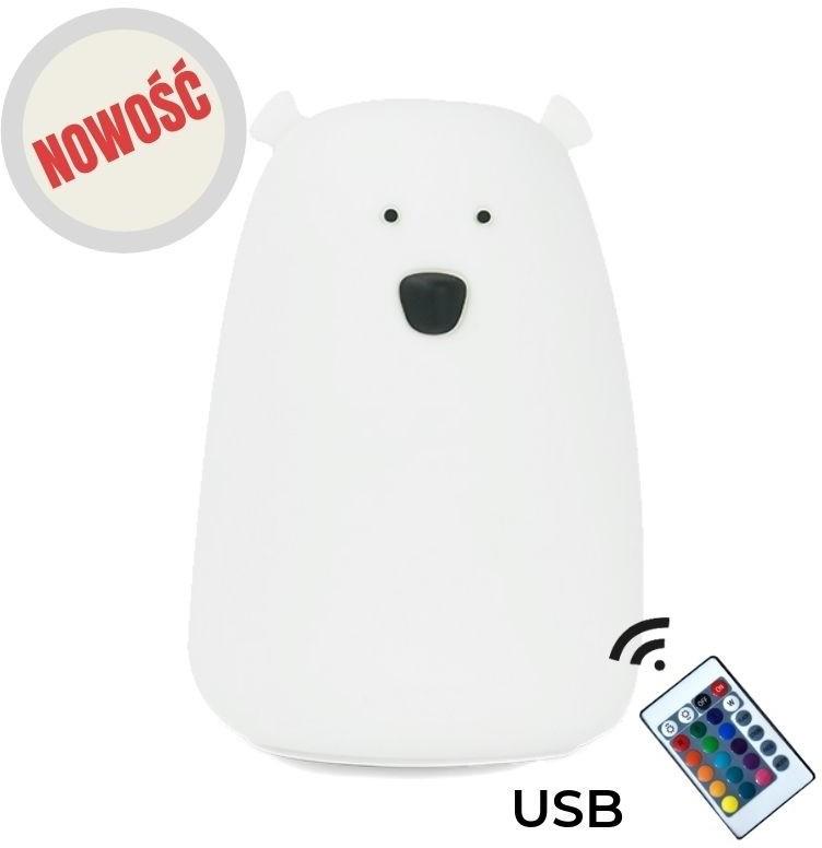 Rabbit Biały Miś - Duża Lampka Silikonowa - Z Pilotem - Rabbit & Friends 115BA