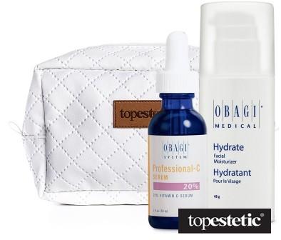 Obagi Obagi Hydrate Facial Moisturizer + Professional - C Serum 20% + Kosmetyczka ZESTAW Długotrwale nawilżający krem 48 g + Serum w formie kwasu L-askorbinowego 30 ml + Biała, pikowana kosmetyczka