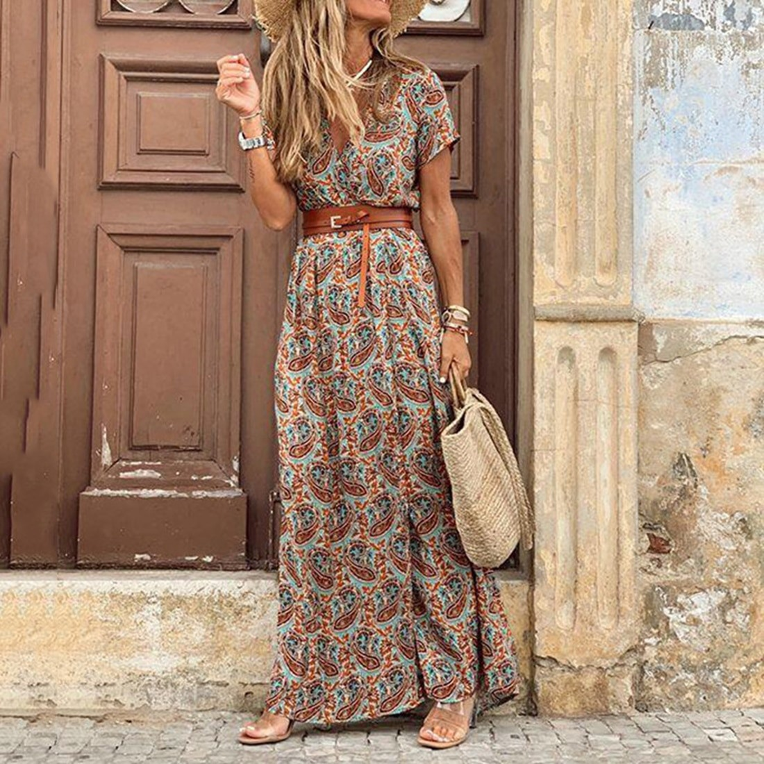 MoneRffi 2020 letnia plaża Maxi sukienka kobiety kwiatowy Print długa sukienka Boho Casual dekolt w serek