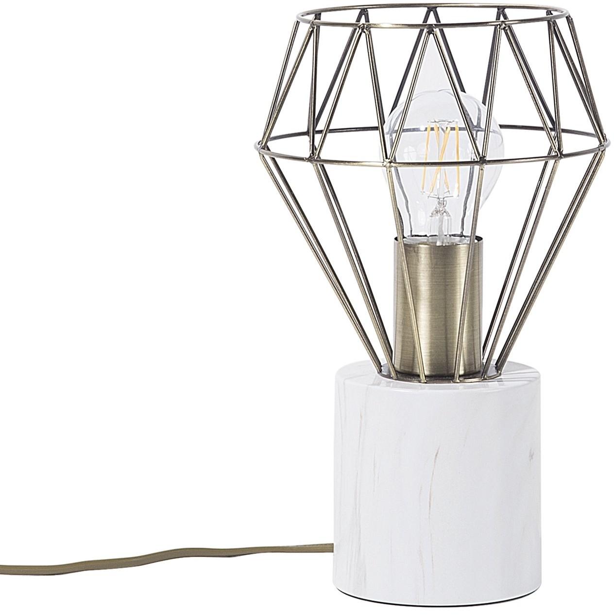 Beliani Lampa stołowa mosiężna MOONI mała
