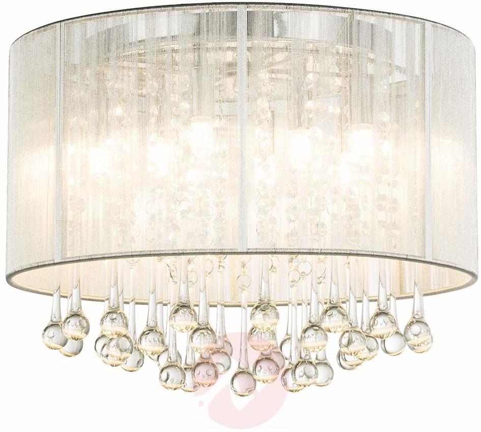 Globo Lighting Plafon LAMPA sufitowa SIERRA 15094D abażurowa OPRAWA okrągła LED 24W łezki krople glamour bagana srebrna 15094D