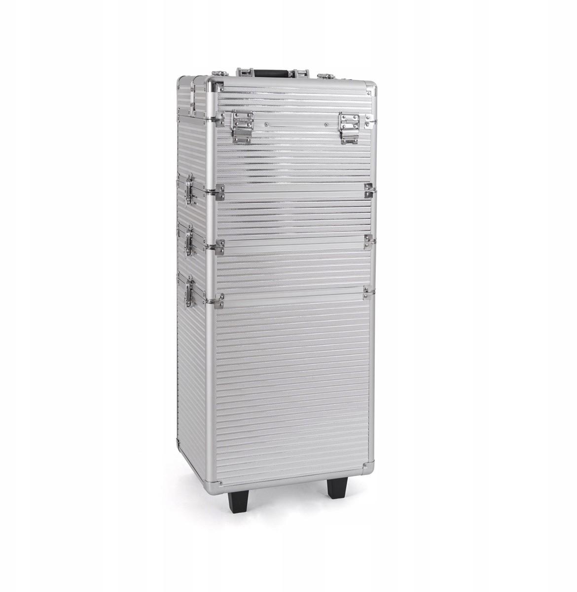 Trolley kufer na kółkach kosmetyczny srebrny paski