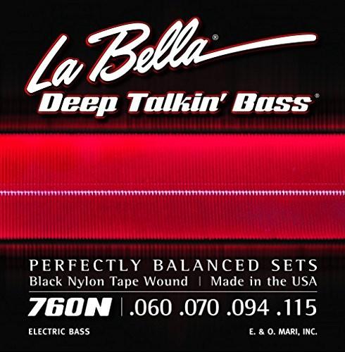 LaBella 760N czarna nylonowa taśma nawinięte struny basowe zestaw 60/115 760N