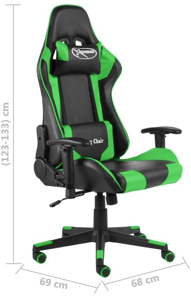 vidaXL Obrotowy fotel gamingowy, zielony, PVC 20493