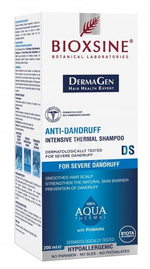 BIOTA LABORATORIES Bioxsine Dermagen Aqua Thermal DS hipoalergiczny szampon przeciwłupieżowy dla skóry głowy z łojotokiem 200 ml