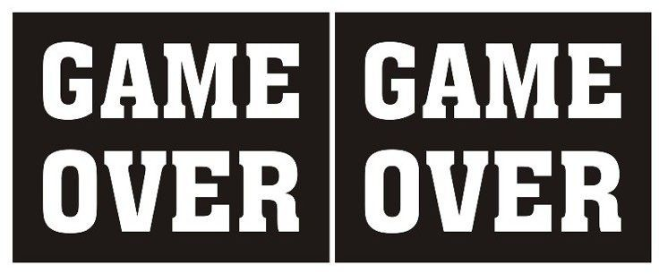 Partydeco NAKLEJKI na BUTY Wesele Game Over 2 szt nb1
