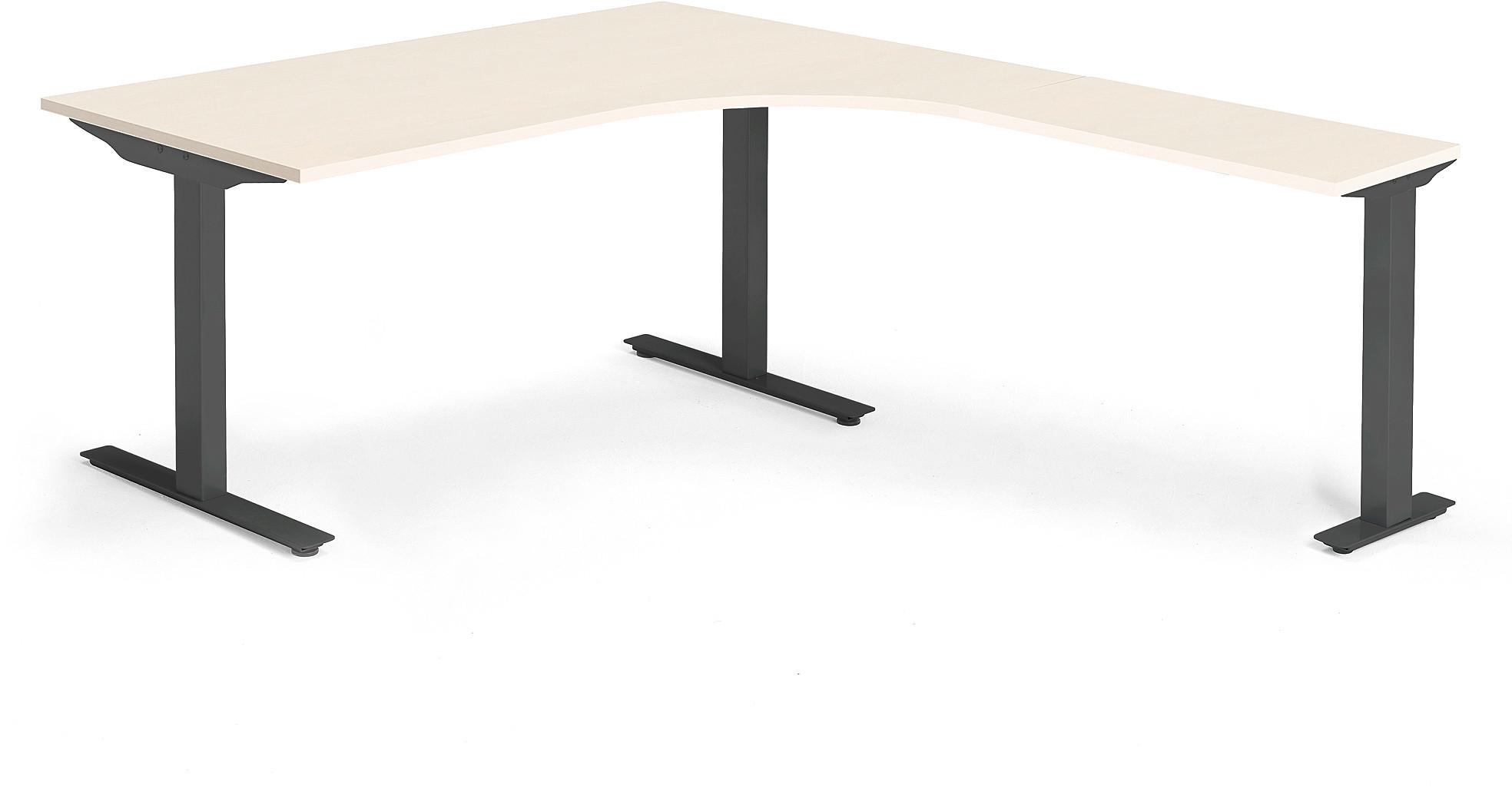 AJ Ergonomiczne biurko Modulus 1600x2000 mm czarna rama T blat brzoza 1612212