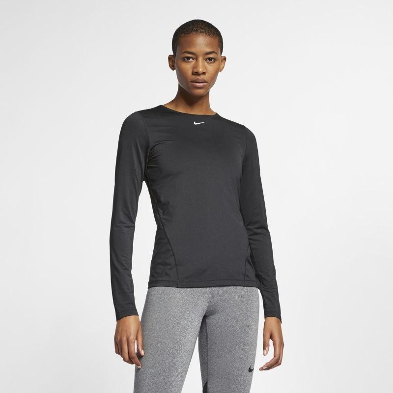 Nike Damska koszulka z siateczki z długim rękawem Pro - Czerń AO9949-010