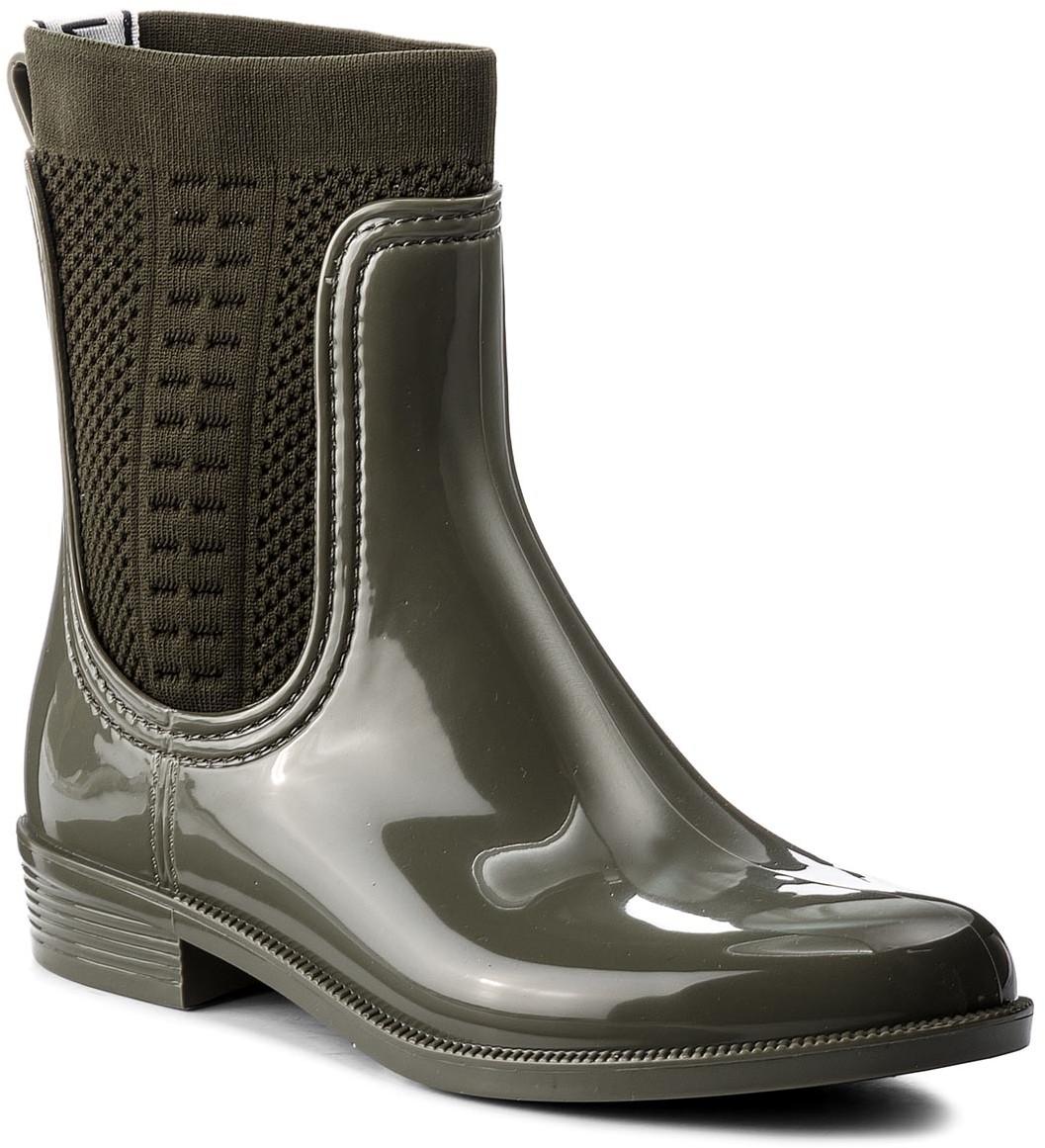 6cf11cffc07c6 Tommy Hilfiger Kalosze Tommy Knit Rain Boot FW0FW02940 Dusty Olive 0110