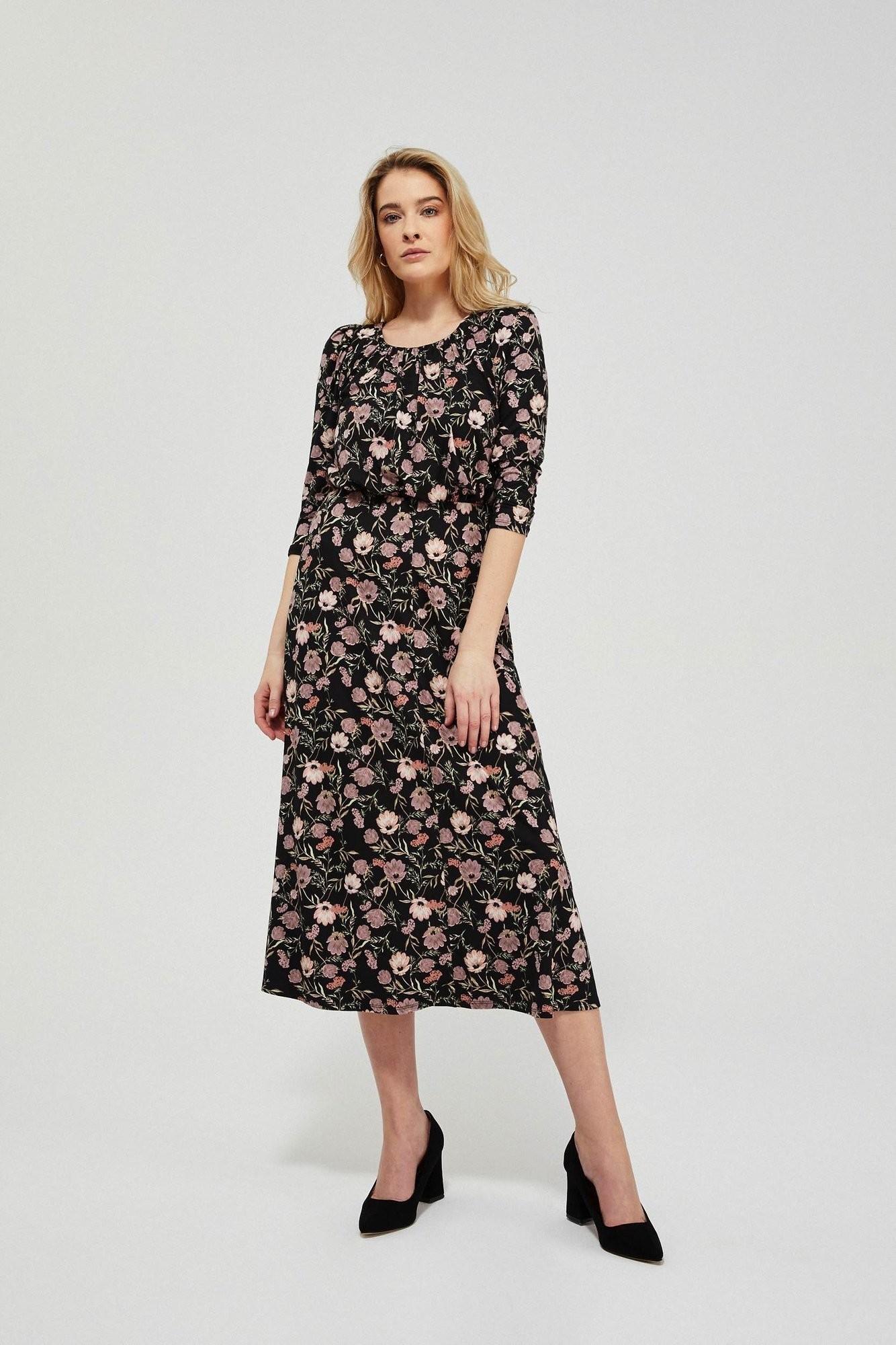 Moodo Sukienka z nadrukiem w kwiaty L-SU-3425 BLACK; XXL