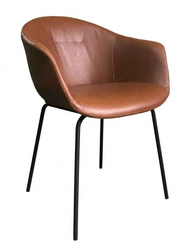 Lectus Krzesło z podłokietnikami Taza imitacja skóry nowoczesne X17-N20-08-BR