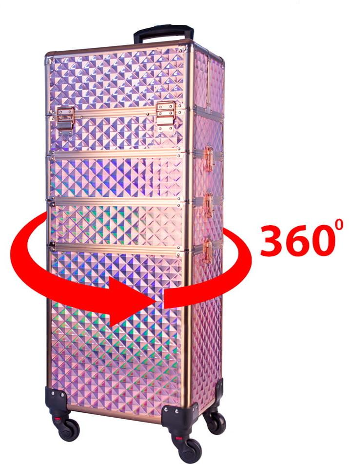 Vanity Kuferek Kosmetyczny Xxxl 4 W 1 Walizka Kosmetyczna Na Kółkach Obrotowych 360 - Nr 1047-9h, Okucia Rose Golden 5903775350958
