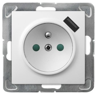Ospel Gniazdo pojedyncze z ładowarką USB Satyna light - GP-1GZPUSB/m/45 As