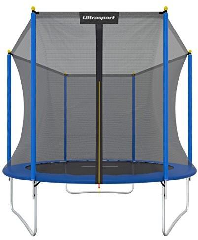 Ultrasport Trampolina ogrodowa, trampolina dziecięca, zestaw z trampoliną zawierający matę do skakania, siatkę ochronną, wyściełane słupki do siatki i osłonę krawędzi , niebieski, 244 cm 331300000262 (331300000225)