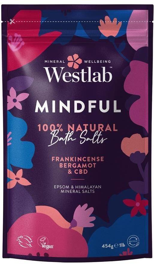 Westlab Westlab Mindful Olejek Kadzidłowy & Bergamotka 454g odprężająca sól do kąpieli