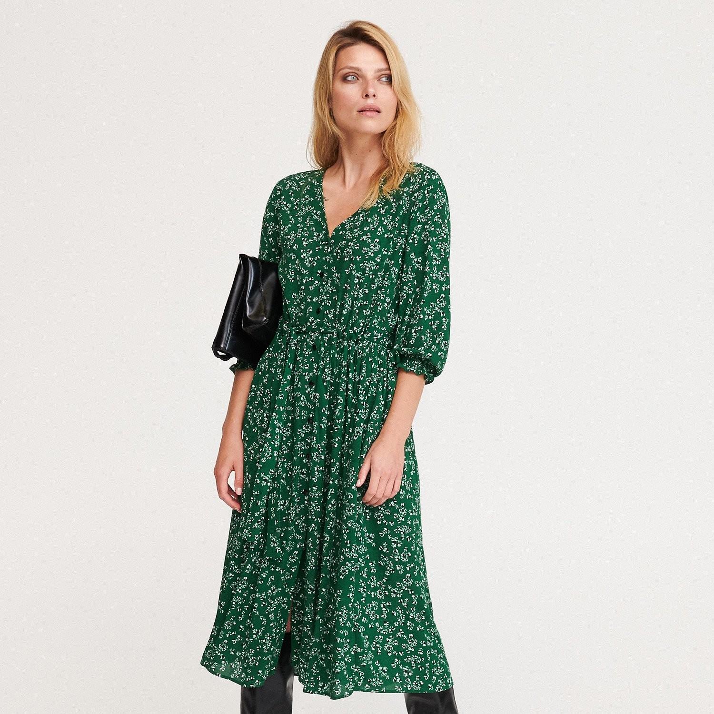 Reserved Sukienka w drobne kwiaty - Zielony