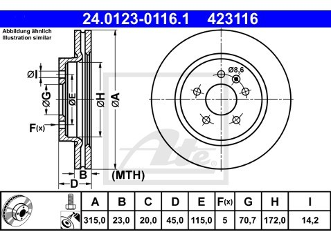 ATE TARCZA HAM 24.0123-0116.1 OPEL ZAFIRA C P12 2.0CDTI 15- TYŁ  24.0123-0116.1
