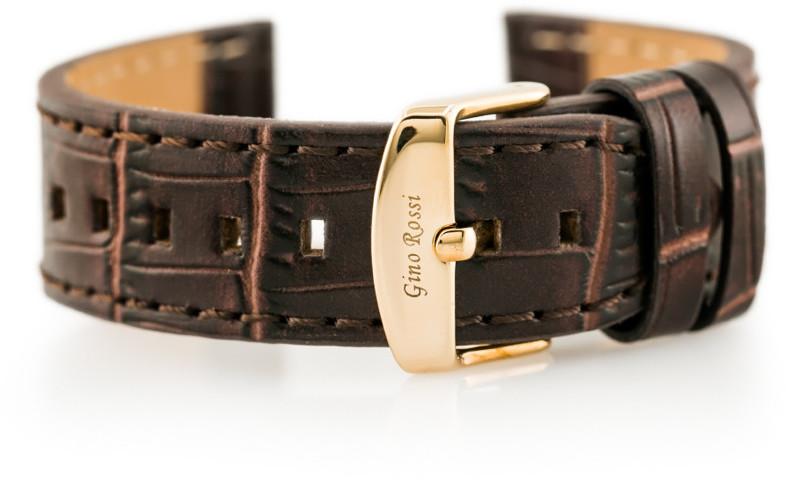 Gino Rossi Pasek skórzany do zegarka - skóra węża płaski - brązowy - 22mm hurtownia-8836-0