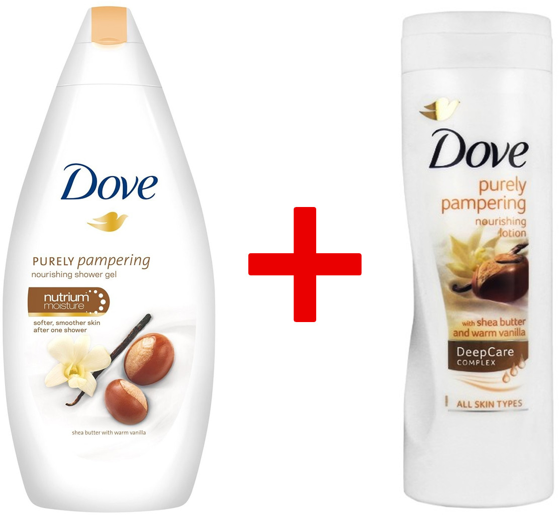 Dove 1+1 Body Wash Żel Pod Prysznic Purely Pampering Shea Butter With Warm Vanilla 500ml + Balsam Do Ciała Purely Pampering DeepCare Complex 400ml