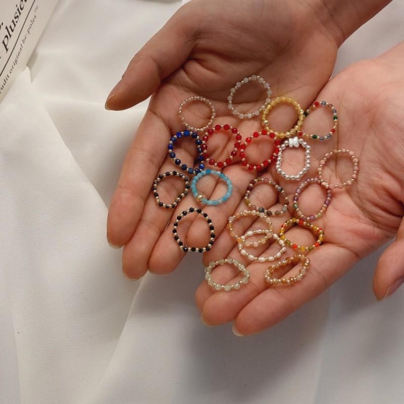 AOMU 2020 moda kryształowe zroszony pierścionki śliczne minimalistyczne kolorowe koraliki