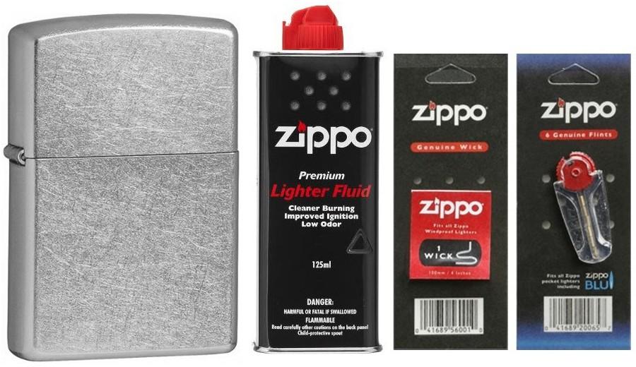 Zippo [Zestaw] 207 + Zestaw eksploatacyjny (benzyna, knot, kamienie)