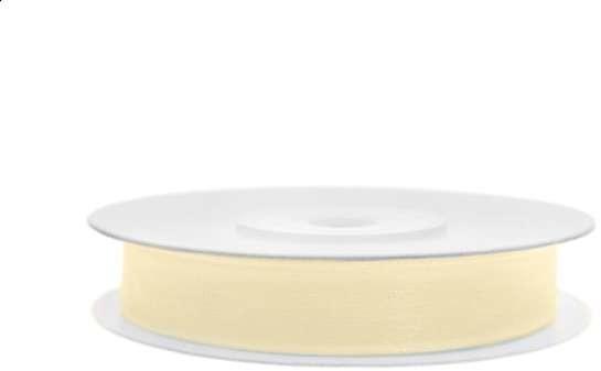 PartyDeco Tasiemka szyfonowa, kremowa jasna, 6 mm / 25 m TSZF6-079J