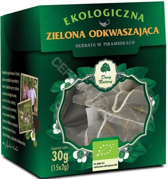 Dary Natury herbata zielona odkwaszająca w piramidkach EKO x 15 sasz